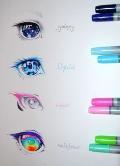 Eye Reference - make up rainbowGalaxy, Liquid, Robot, Rainbow! Eye Reference - make up rainbow What colour do you want as your eyes ? Realistic Eye Drawing, Drawing Eyes, Manga Drawing, Drawings Of Eyes, Figure Drawing, Eye Art, Cute Drawings, Hipster Drawings, Pencil Drawings