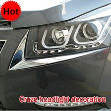 Chevrolet cruze ABS Chrome trim headlight trim/lamp eyebrow headlight cover trim/decoration accessories Free shipping!(China (Mainland))