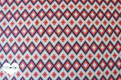 Stoff grafische Muster - Sommer IKAT Stoff ▲ ethno Baumwollstoff mint grau - ein Designerstück von Villa-Stoff bei DaWanda