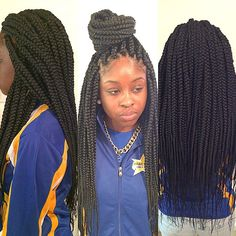 Medium size long box braids