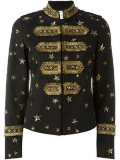 Valentino Star Embroidered Band Jacket In Black Valentino Jacket, Valentino Women, Valentino Black, Couture Coats, Coats For Women, Jackets For Women, Band Jacket, Kpop Outfits, Women's Coats
