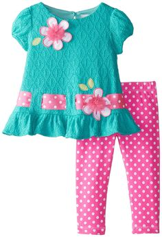 Amazon.com: Rare Editions Baby Baby Girls' Textured Knit Legging Set, Teal/Pink, 24 Months: Clothing