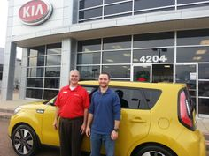 One Soul to Another! This customer had a 2011 Kia Soul and really liked it.  Then he saw that we had this really unique 2014 Solar Yellow Kia Soul Exclaim with all the bells and whistles including, panorama sun roof, leather seats and subwoofer and knew it was the way to go.  We really enjoy helping great people find their next great car, because that is the Wilson Way!  www.wilsonkia.com www.wilsonautogroup.com  4200 Lakeland Drive 601-914-4200