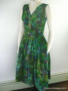 Think Fontainebleau  Rat Pack  VTG 1960s Alix of Miami Tropical Greens Floral Chiffon Dinner Dress Small Sz 4