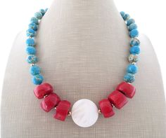 Turquoise necklace red coral necklace with mother by Sofiasbijoux