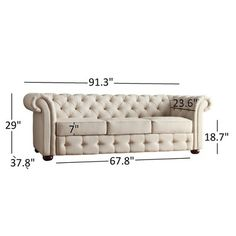 Knightsbridge Beige Fabric Button Tufted Chesterfield Sofa and Room Set by iNSPIRE Q Artisan Sofa Bed Design, Living Room Sofa Design, Chesterfield Furniture, Sofa Furniture, Acme Furniture, Home Decor Furniture, Furniture Deals, Sofa Frame, Wooden Sofa