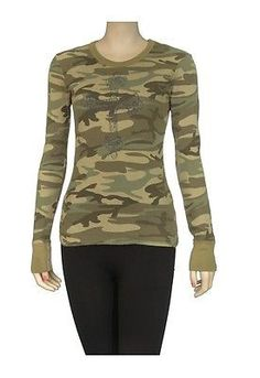 Starr Luna Thermal Cross Crew Neck Long Sleeves Womens T Shirts Green Size M