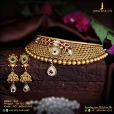 Gold 916 Premium Design Get in touch with us on New Gold Jewellery Designs, Gold Jewelry Simple, Necklace Designs, Fashion Jewelry, Gold Flowers, Antique Jewelry, Iphone Wallpaper, Chokers, Jewels
