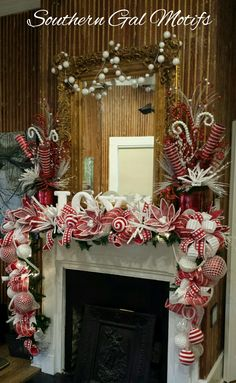 Whimisical Christmas  Mantle Design by Southern Gal Motifs, LLC