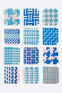 Nice variety of paper weaving patterns Paper Weaving, Weaving Textiles, Weaving Art, Weaving Patterns, Fabric Weaving, Textures Patterns, Print Patterns, Stitch Patterns, Bead Patterns