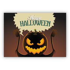 Schreckliche Halloween Karte mit Grusel – Kürbis: Happy Halloween 1