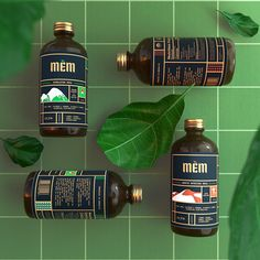 Traditional Herbal Tonic Brand Identity and Label Design. Mem is a traditional herbal tonic series designed to boost the immune system and fight bodily discomfort by providing vital minerals and vitamins. Beverage Packaging, Bottle Packaging, Brand Packaging, Milk Packaging, Label Design, Branding Design, Package Design, Kombucha Brands, Grid Design