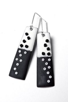 Long Enameled Trapezoid Earrings in with Black & White with Scattered Beads. Angela Gerhard.