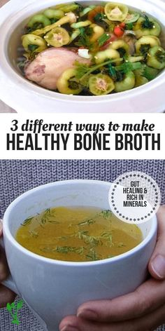 Broth is so healing and comforting. True and healing bone broth is traditionally made from roasted bones and is simmered for long periods of time to extract all the minerals and nutrients.  Learn how to make healthy bone broth three ways.   Prepare & Nourish    #bonebroth #healingfood #healthyfood