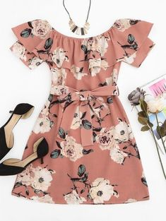 SHARE & Get it FREE | Ruffle Floral Off Shoulder Mini Dress - Pink SFor Fashion Lovers only:80,000+ Items • New Arrivals Daily Join Zaful: Get YOUR $50 NOW!