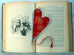 Valentine+Heart+Bookmark+Vintage+Red+Fabric+Lace+by+ArtfullySew,+$10.00