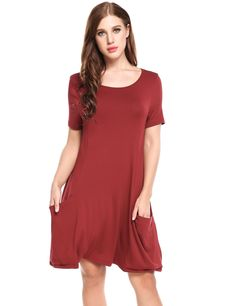 Red O-Neck Short Sleeve Solid Pleated Hem Dress with Pockets