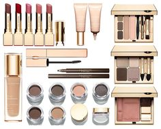Clarins Ladylike Fall 2014 collection:  Rouge Eclat Lipstick (Chestnut Brown, Red Fuchsia, Candy Rose, Strawberry Sorbet, Pink Magnolia) Instant Light Eye Perfecting Base  Perfect Eyes & Brows Palette True Radiance SPF 15 Perfect Skin Foundation Be Long Mascara (Intense Black) 3-Dot Liner (Brown) Eye Quartet Mineral Palette (Skin Tones) Ombre Matte Cream To Powder Eyeshadows (Rosewood, Taupe, Nude Rose, Sparkle Grey, Earth, Nude Beige) Blush Prodige (Tawny Pink)