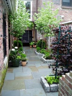 The house-side passage is often wasted, and becomes a dreary 'no go' area. The design for a house-side passage shown opposite suits a typical space...
