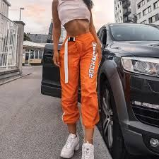 Waatfaak Casual Patchwork Pencil Pants High Waist Buckle Belt Trousers Women Orange Zipper Pocket Sweatpants and Joggers Fitness Trousers Women, Pants For Women, Clothes For Women, Tumblr Outfits, Trendy Outfits, Mode Adidas, Fashion Pants, Fashion Outfits, Fashion Clothes
