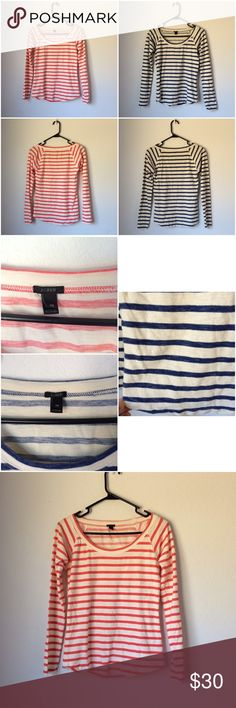 Bundle 2 - J. Crew Striped Long Sleeve Tees ACCEPTING OFFERS!!. No low ballers. No trades. Used but excellent condition. Soft and comfortable. Cute with jeans or leggings and flats/knee high boots/sandals/sneakers. Retail $90 combined. Colors: Off white/Hot Coral & Off white/Blue. $24 on Ⓜ️ercari for both J. Crew Tops Tees - Long Sleeve