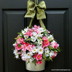 Beautiful and unique 'wreath' created by Ever Blooming Originals. I'm giving away one of these on my blog today! Stop by to enter. :)  ----> http://www.inspiredbycharm.com/2012/04/another-door-decor-giveaway-from-ever.html