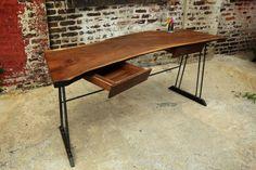 Reclaimed Walnut Wood Writing Desk with 2 by RecycledBrooklyn