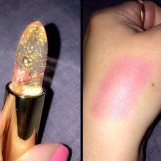 Kailijumei lipstick offers a natural but glossy pink shine. This is a swatch but color changes depending on temperature of you. The more cold the lighter the pink.