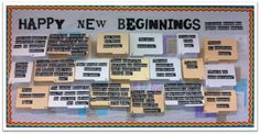 The title is: Happy New Beginnings — with the directions: Can you guess the books these beginning sentences belong to? I printed out various quotes and glued them onto the front of file folders; the author and title of the book were glued inside the file.