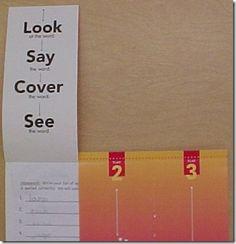 Look-Say-Cover Flip Folder Spelling Study Technique