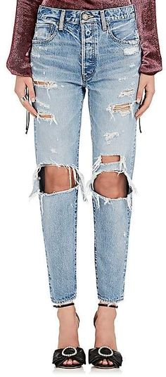 Moussy Women's Hayden Distressed Crop Jeans