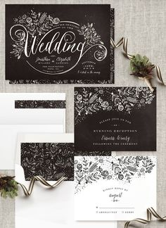 Black and white wedding inspiration for the bride looking to recreate a timeless wedding look. The Wedding Bouquet Wedding Invitation by Phrosne Ras @minted