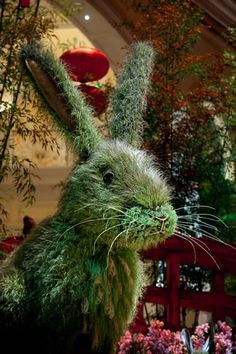 Botanical rabbit for the Chinese New Year theme in the Conservatory of the Bellagio Hotel, Las Vegas.