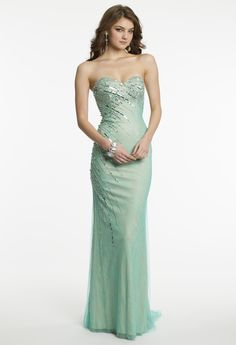 Mesh Over Lace Prom Dress by Camille La Vie