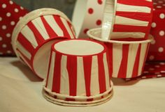 Red Stripe Paper Candy Cup, 12 for $3...reminds me of a circus/carnival.