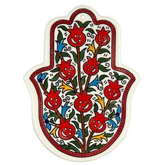 CeramicSize: 10 X 14 cm / 4 X gorgeous Hamsa shaped Armenian ceramic tile will add a touch of inspirational beauty to any wall it adorns! It features a colorful and cheerful pomegranate deco Hamsa Design, Hamsa Painting, Pomegranate Tattoo, Hamsa Art, Hamsa Jewelry, Stained Glass Paint, Turkish Art, Hamsa Tattoo, Jewish Art