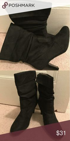 "Black Booties Black Booties, barely worn, 3"" heel Lane Bryant Shoes Heeled Boots"