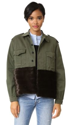 Harvey Faircloth Military Jacket with Faux Fur Trim