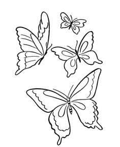 Four Butterflies Flying Together Coloring Pages For Kids Printable