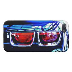 Close-up photo of a Chevy Camaro ZL1's tail lights and emblem on an Apple iPhone 5 hard shell plastic case...