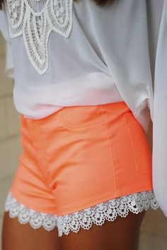 High On Lace Shorts: Neon Orange