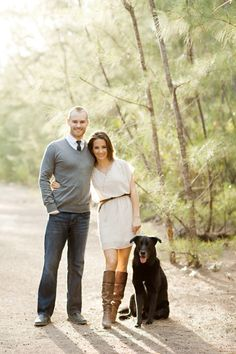 Great look, and the dog is well groomed! (If you want your pooch in your photos make sure he/she is lookin good too! Holiday Pictures, Fall Pictures, Couple Pictures, Family Photo Outfits, Family Photo Sessions, Engagement Couple, Engagement Pictures, Engagement Session, Engagements