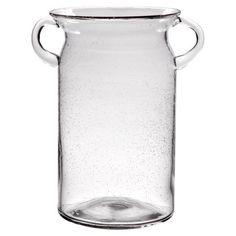 Vintage-inspired glass milk jug with seeded details.  Product: Milk jugConstruction Material: GlassC...