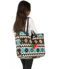 Blue Aztec Large Tote Shoulder Bag Handbag Quilted Canvas Books Market Beach College Picnic - CG17X3QHDAG  #Bags #Handbags #Totebags #gifts #Style