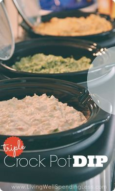 Triple Crockpot Dips. Got a triple slow cooker to use for parties but aren't quite sure how to fill it? These three simple but delicious hot dips give an awesome mix of flavors, are easy to make ahead of time, and make entertaining practically effortless!