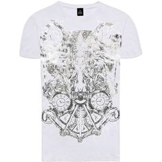 RADDAR7 - Warfare Metallic Printed White T-Shirt (€37) ❤ liked on Polyvore featuring men's fashion, men's clothing, men's shirts, men's t-shirts, men's going out shirts, mens party shirts, mens leopard print t shirt, mens patterned t shirts and mens t shirts
