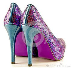 A pair of colourful shiny sequin covered dancing shoes.