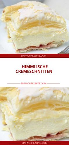 HIMMLISCHE CREMESCHNITTEN 😍 😍 😍 You are in the right place about pastry recipes Here we offer you the most beautiful pictures about the apple pastry y Holiday Desserts, No Bake Desserts, Pastry Recipes, Cake Recipes, Nutella, Everyday Food, Cakes And More, Relleno, Yummy Cakes