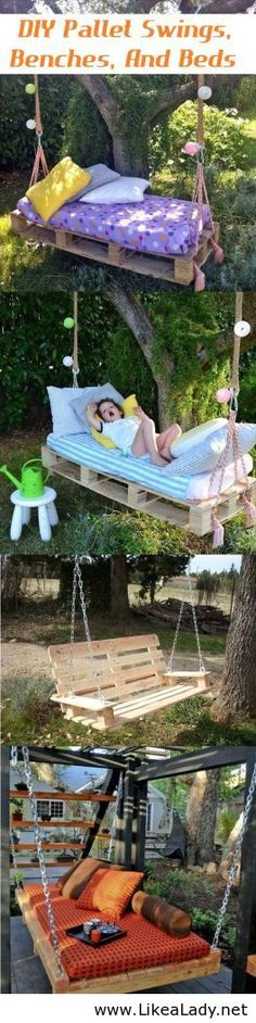 Pallet swings, banches and beds
