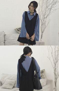 monroll - Bell-Sleeve Blouse / V-Neck Mini Dress #dress #minidress
